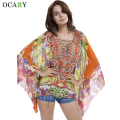 Print Ethnic Shirts Chiffon Kimono Women Beach Blouses Hollow Out Ladies Tops Sexy Blusas Mujer Loose Chemisier Summer Camisas