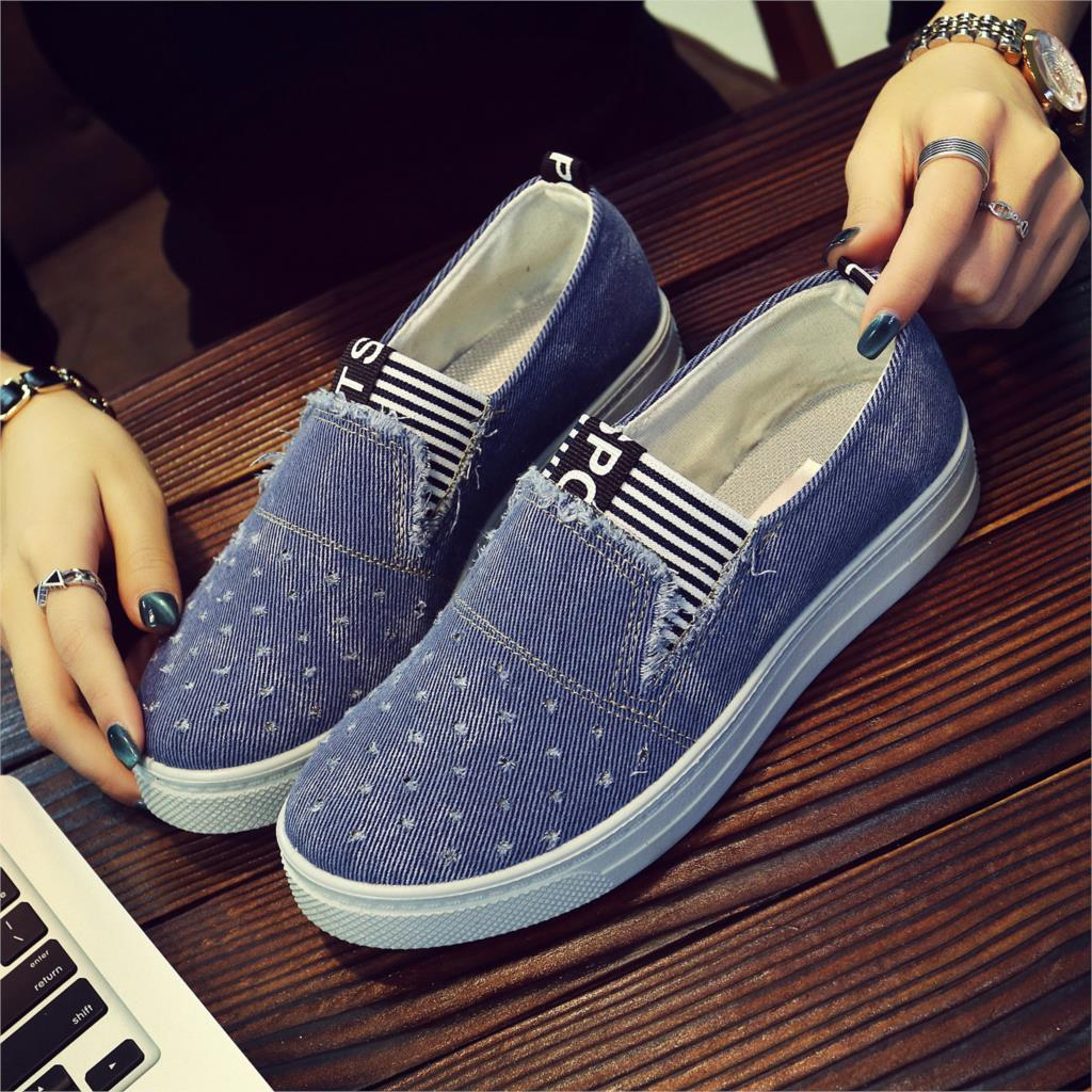 Image 2 - New Flat Shoes Ladies School Canvas Casual Flat Soft And Comfortable Shoes Work Driving Shoes Classical Denim Fabric Lightweight-in Womens Flats from Shoes on AliExpress