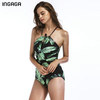 INGAGA 2018 Trapical Lace Up One Piece Swimsuit Female Leaf Printed Swimwear Women Halter Summer Beachwear