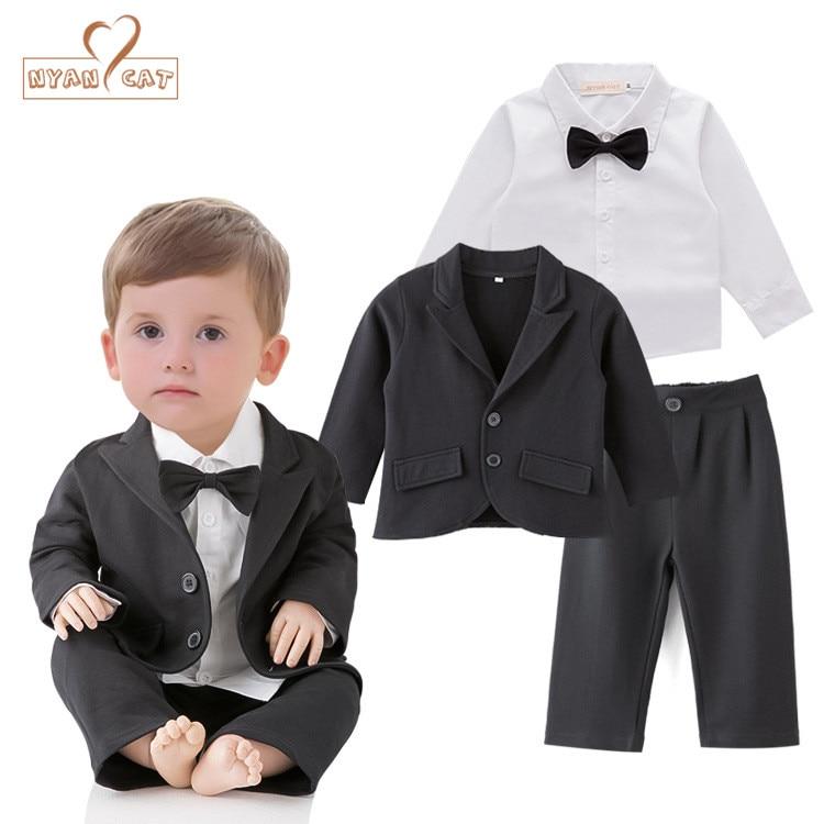 Nyan Cat Baby boys clothing gentlemen wedding clothes black bow tie  shirt+coat+pants set party birthday costume clothing цены онлайн