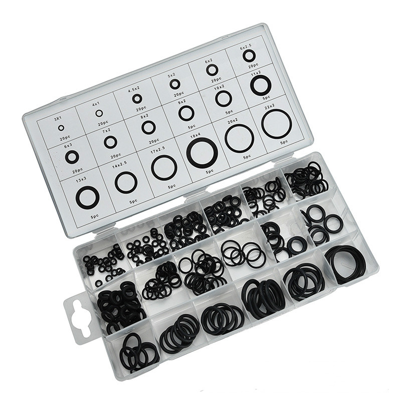 225pcs/lot Black Rubber O-Ring Washer Automotive Air Conditioner Gasket Sealing O Ring Assortment Kit With Case for Car Washers 10pcs lot yt919 ptfe gasket sealing ring washer backup ring 30 39 2 mm free shipping