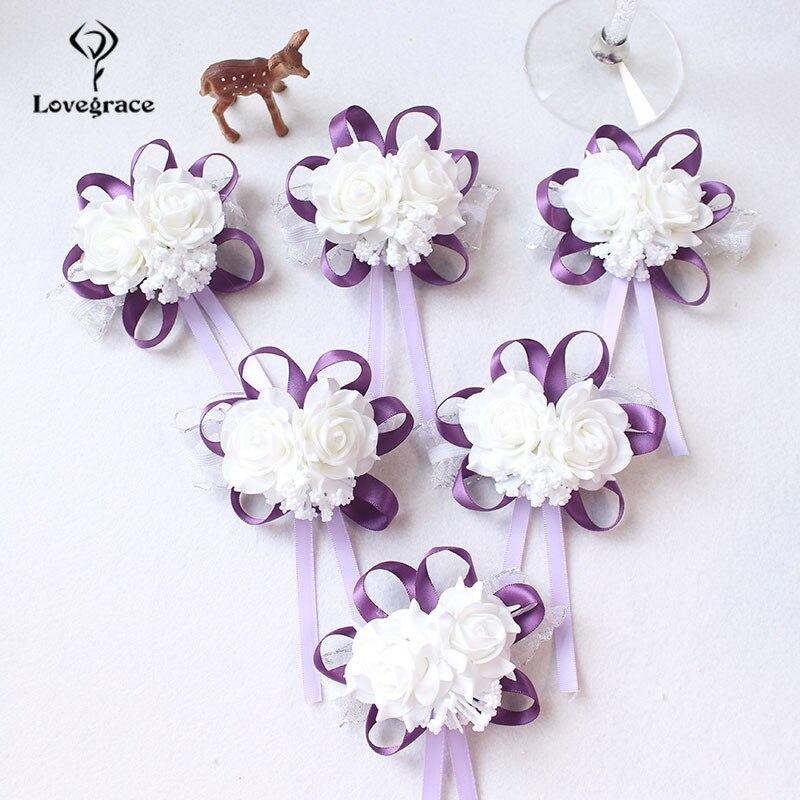 White Foam rose Wedding Wrist Corsage Hand Flowers Boutonniere bridal  (80)