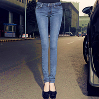 2019 new spring and autumn office lady cotton plus size low waist female women girls brand skinny pencil pants jeans 79417