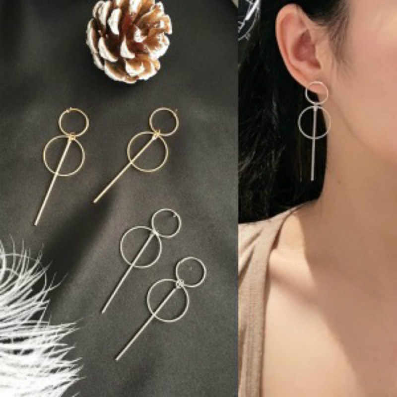 2019 new fashion earrings punk minimalist gold / silver / long tassel size round pendant earrings ladies gifts wholesale