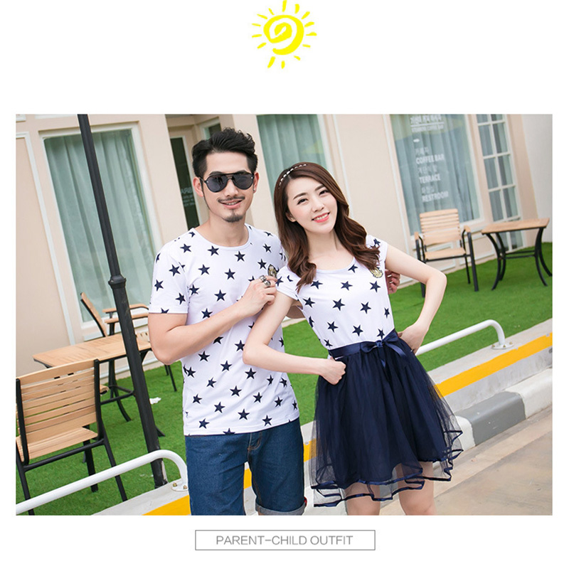 HTB1Tdlsao rK1Rjy0Fcq6zEvVXa5 - Summer Cotton Family Matching Outfits Mom And Daughter Mesh Dress Dad Son Blue White Stars Short T-shirt Children Clothing