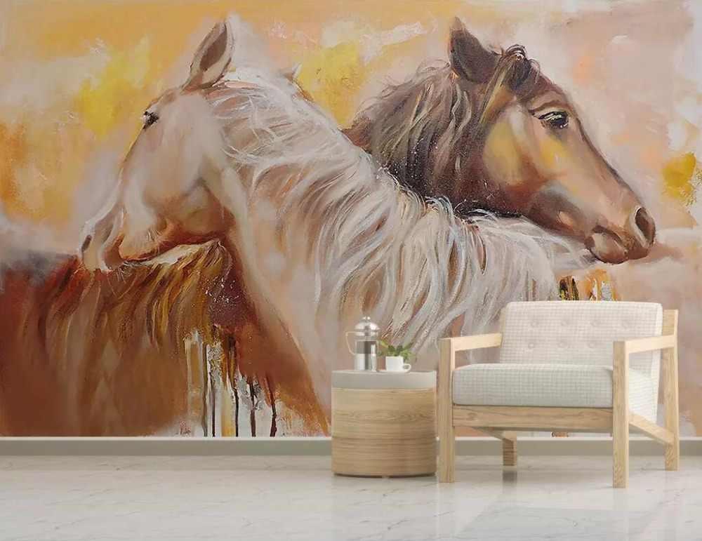 Nordic zakontraktowane akwarela malowane miłośników koń ściana tła dekoracji malowanie