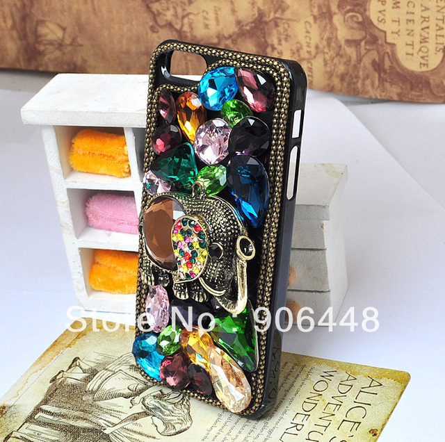 Free Shipping Handmade Cell Phone Case for iphone 4 4s 5 with Bronze Elephant Colorful Ear and Bling Crystal Rhinestone Gems