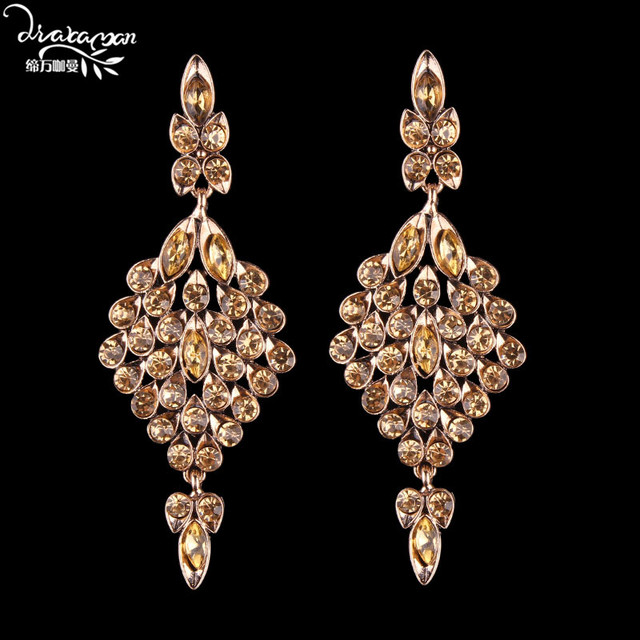 Dvacaman Brand Luxury Champagne Crystal Earrings For Women Indian Bridal Wedding Charm Drop Statement Jewelry