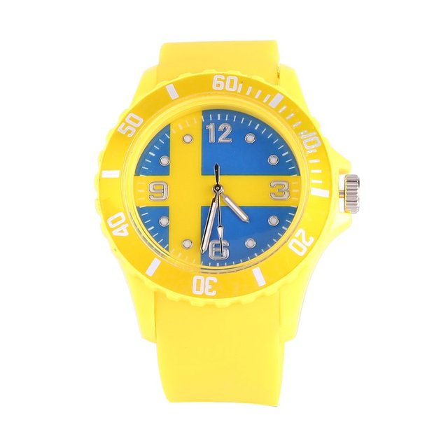 Sweden/Russian Flag Pattern Quartz Watches Yellow Color Silicone Strap Wristwatc