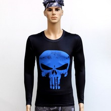 Punishment human skeleton T Shirts Long Sleeve High Elastic Fast Dry Tops Super Hero Shirts Water Proof Sport Riding OutdoorTop
