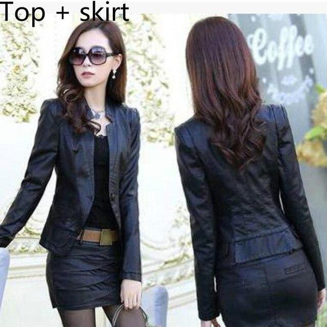 1bc12fdb3 US $17.48 24% OFF|jaqueta de couro Tops+skirts Spring PU 2018 Korean Autumn  Slim Locomotive Short coat Lady Faux Leather jacket Rof women 3XL-in ...