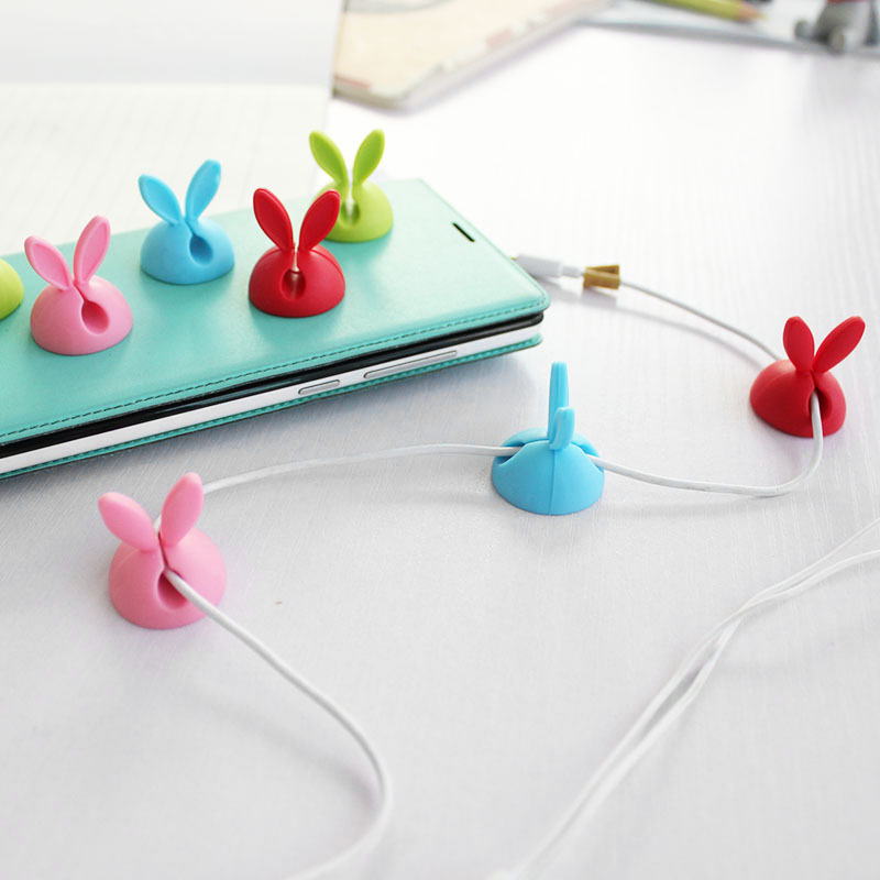 4 Pcs/Set Tabletop Winder Cute Cartoon Rabbit Ears Earphone Cable Protector Multi-function Wire Clamp Home Office Organization
