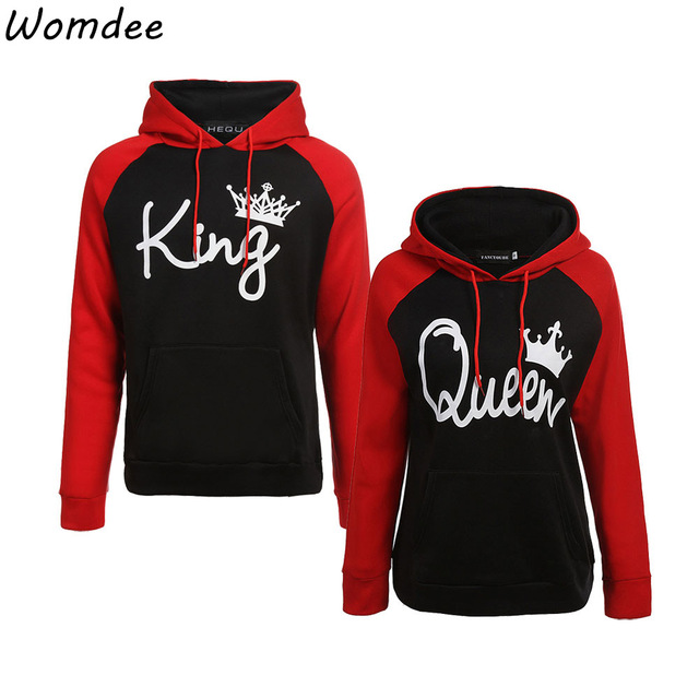 Couple Lover Matching Look Sweatshirt 2018 Autumn Winter Unisex Women Men Casual Hooded Hoodies KING and Queen Letter Pullovers