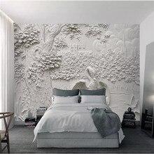 Modern minimalist tree crane TV background wall professional production mural custom photo wallpaper