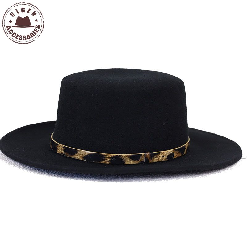 32c3d5168de BIGBANG GD G-Dragon black fedora hats for men Pure Wool Large brim Winter  mens pork pie hat Leopard band fedoras for men