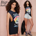 Fashion Casual Women T-shirts Plus Size Sleeveless 2015 Summer Punk Style Unicorn Letter Print Female T-shirt Black M15012004