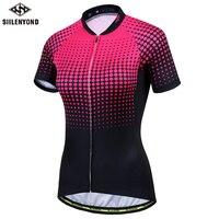 SIILENYOND New SportsWear Womens Cycling Jersey Short Sleeve Cycling Clothing Bike Shirt Racing Clothe Riding Garment