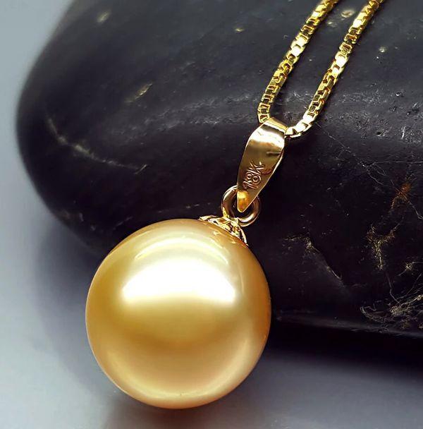 100% природа южного моря золото жемчужное ожерелье с 18 k желтого золота коробка chain.9.8 10 мм жемчуг. AAAAAgrade