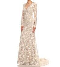 Nach Maß Vestido de Noite 2016 Neue Spitze Formales Kleid V-ausschnitt Volle Hülse Bodenlangen Abendkleider 3 Farben verfügbar