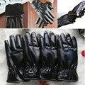 Hot Women Mens Luxurious PU Leather Winter Super Warm Gloves Cashmere Thicken Tactical Driving Black Glove Outdoor Brace Suppots