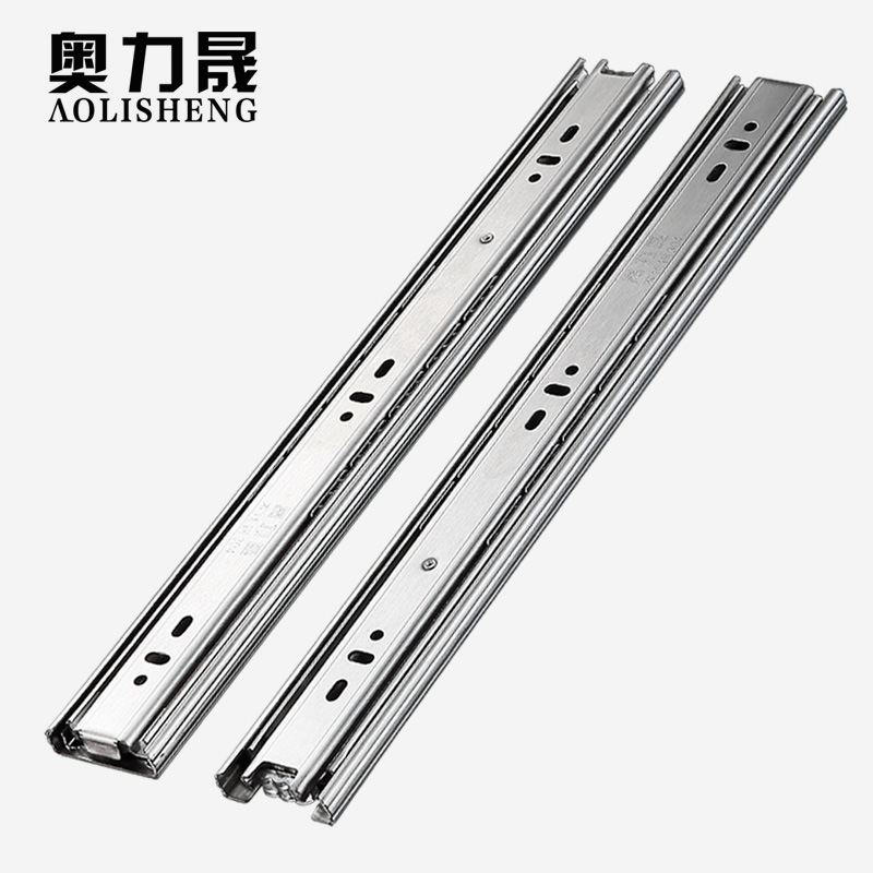 Image 4 - Stainless Steel Drawer slide rail 8 24 Inch Ball Bearing Three Sections Full ExhibitionSlides   -