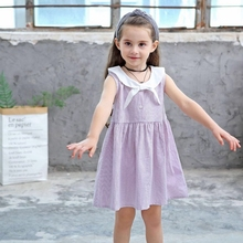 Toddler Girls Summer Dresses Sleeveless Fashion Solid Pattern Sailor Collar Clothes Cute Sundress School