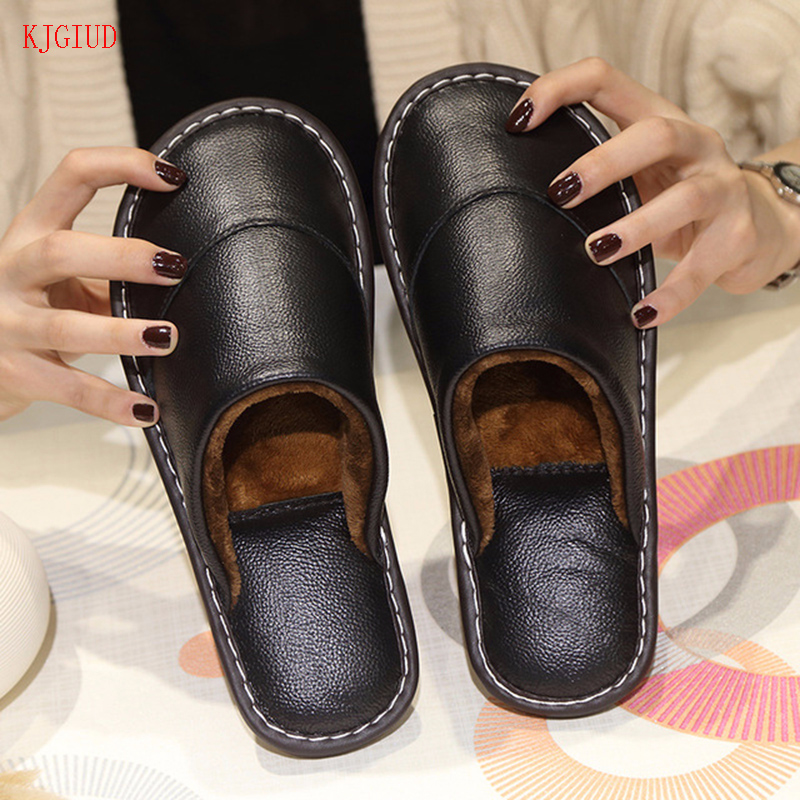 Leather Cotton Slippers Men's Winter Home Indoor Beef Tendon Bottom Non-slip Waterproof Warm Leather Slippers Women