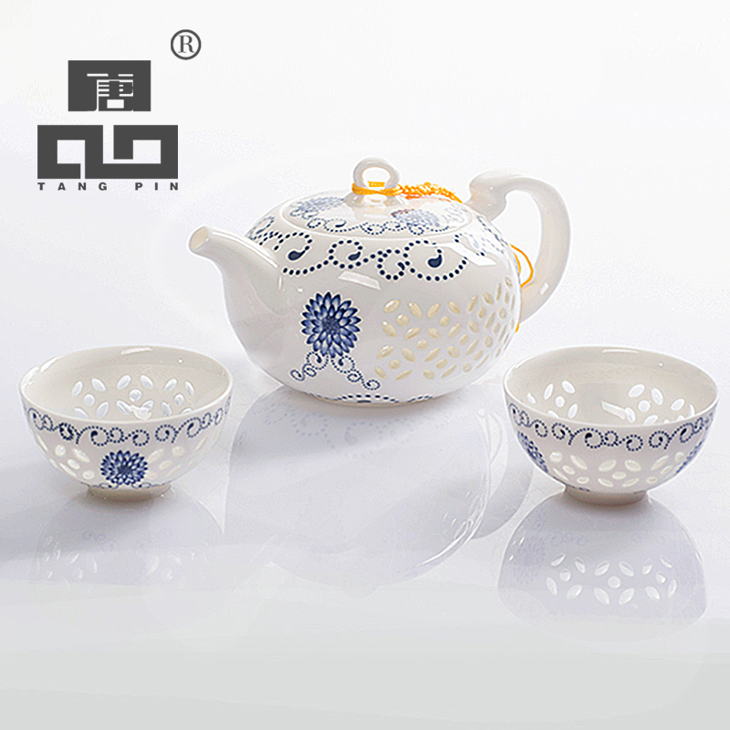 TANGPIN blue-and-white exquisite ceramic teapot kettles tea cup porcelain chinese kung fu tea set drinkware  serveware