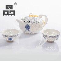 Tangpin сине-белый изысканный керамический чайник чайники чайная чашка китайский фарфор кунг-фу чайный сервиз Посуда