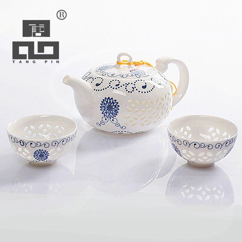 Bule de Cerâmica Xícara de Chá de Porcelana Jogo de Chá Tangpin Chaleiras Azul and requintado Branco Chinesa Kung fu Drinkware