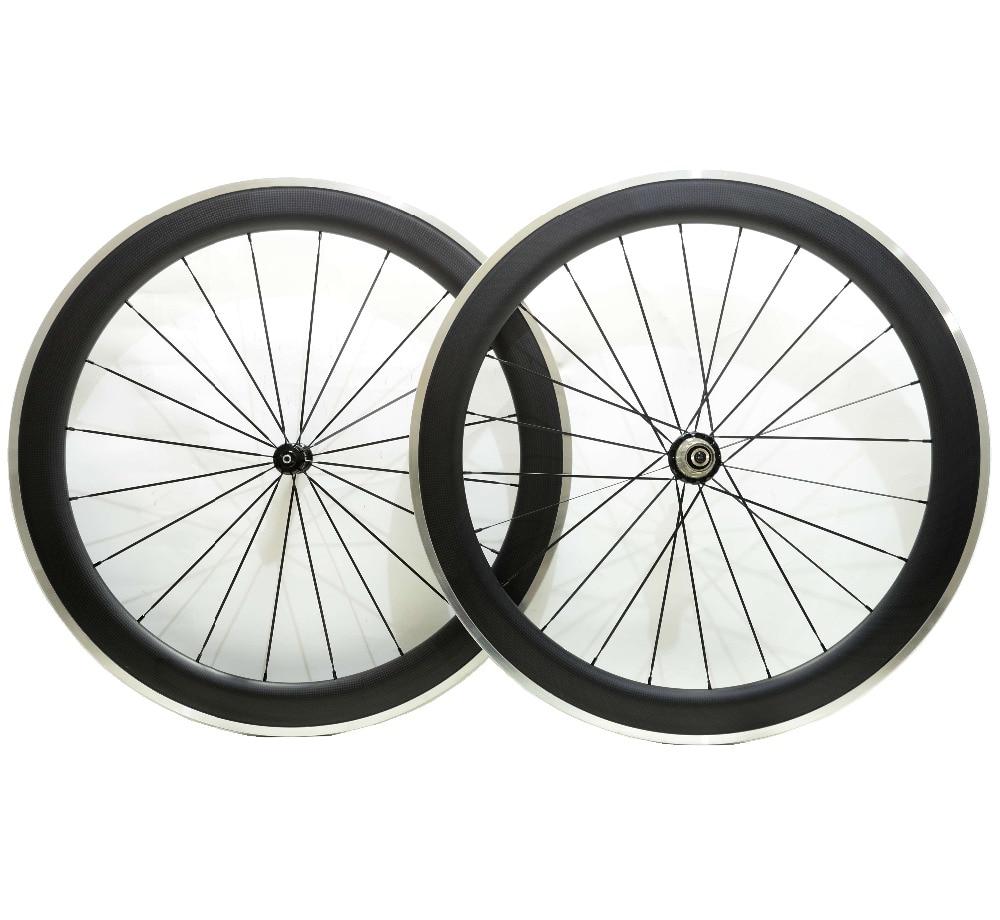 700C Alloy brake surface carbon wheels 60mm depth clincher road bike carbon wheelset 23mm width 3K matte finish ironfix 568 60 700