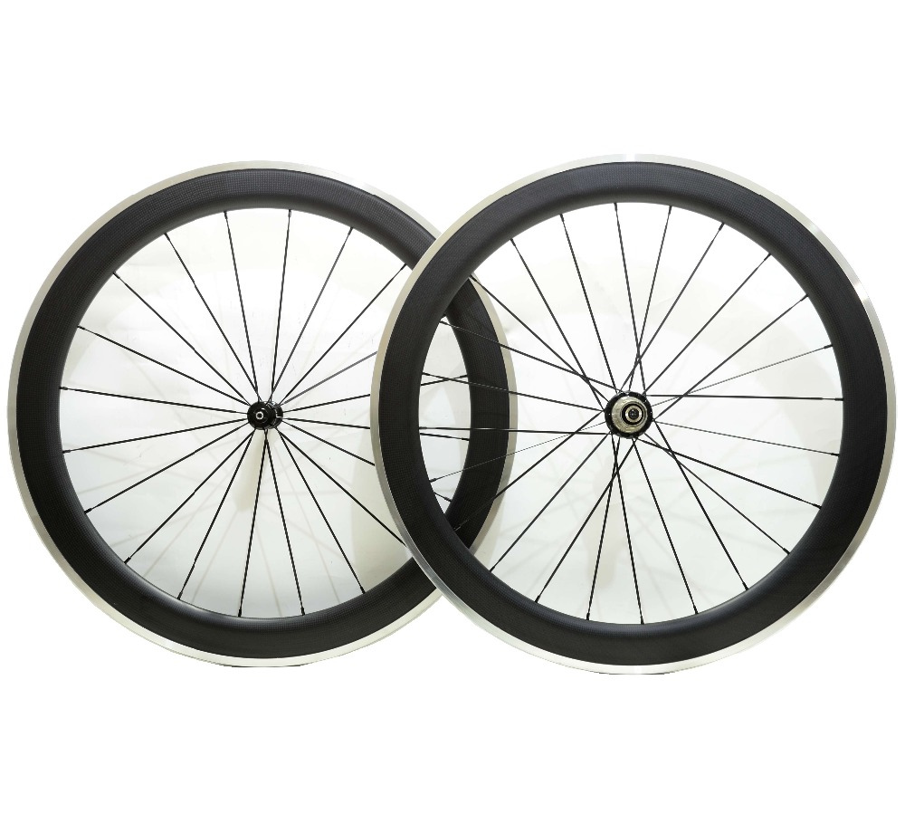 700C Alloy brake surface carbon wheels 60mm depth road bike carbon wheelset 23mm width 3K matte finish with Powerway R36 hub gub aluminum v brake road bike wheels 42mm cheap wheels with alloy brake surface clincher wheelset 700c 10 11speed compatible