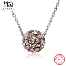 Exquisite Women Pendant Necklace Ball Crystals From Swarovski With 925 Sterling Silver Chain Collars Anniverysary Jewelry Gifts lekani crystals from swarovski necklace925 ms exquisite prom necklace christmas snowflake square pendant necklace