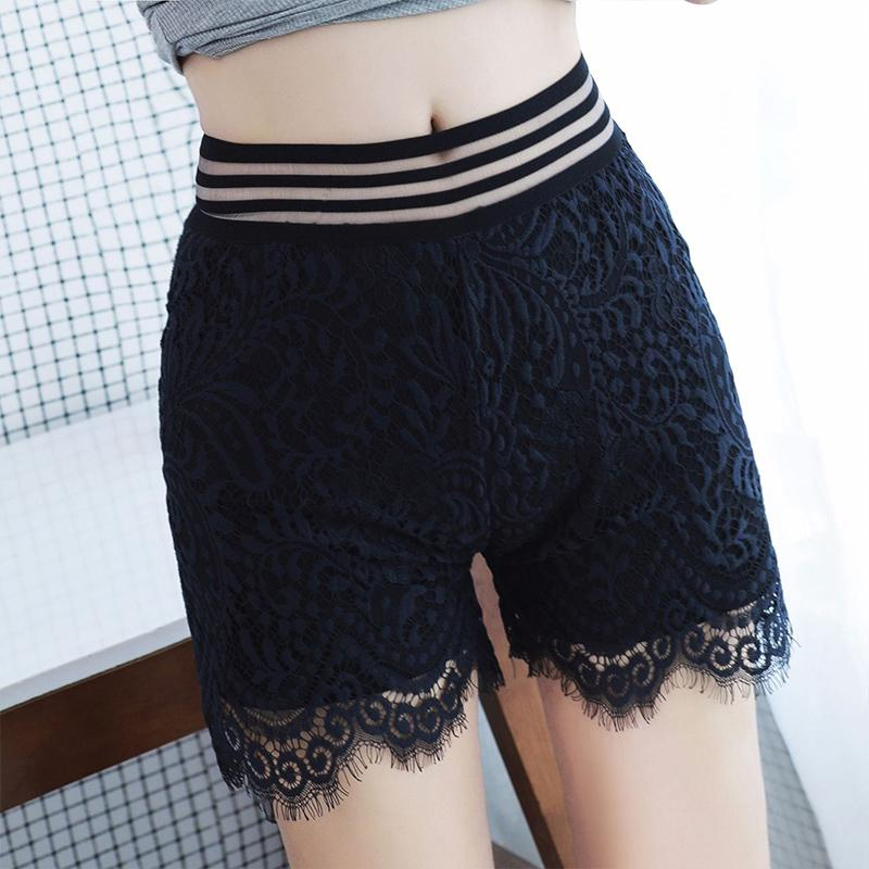 Yfashion Women Double Layer Lace Shorts New Hot Sexy Safty Underpants Lace Floral High Waist Solid Black White Shorts Female