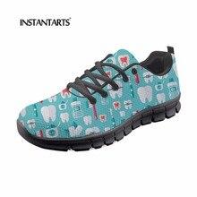83502f49 INSTANTARTS equipo Dental mujeres Lace Up planos zapatos 3D Cute caricatura  patrón del dentista transpirable zapatillas