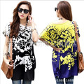 50 color! 2016 Fashion new summer plus size women Tshirt top long Tee shirt print floral casual woman tunic blusas Fit M~4XL