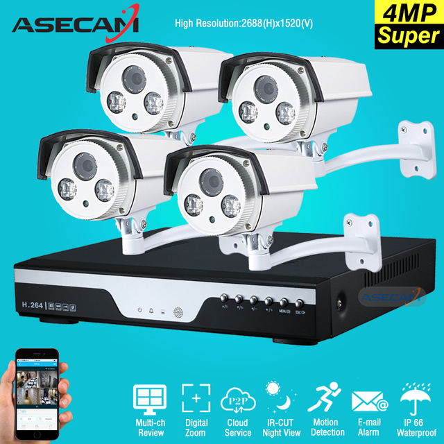 Best 4 Channel 4MP HD AHD CCTV Camera 4ch DVR Video recording Home Outdoor  Array Security Camera System Kit Surveillance P2P -in Surveillance System