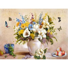 White Vase And Butterfly Oil Painting Picture By Numbers Drawing Coloring DIY Living Room Decoration