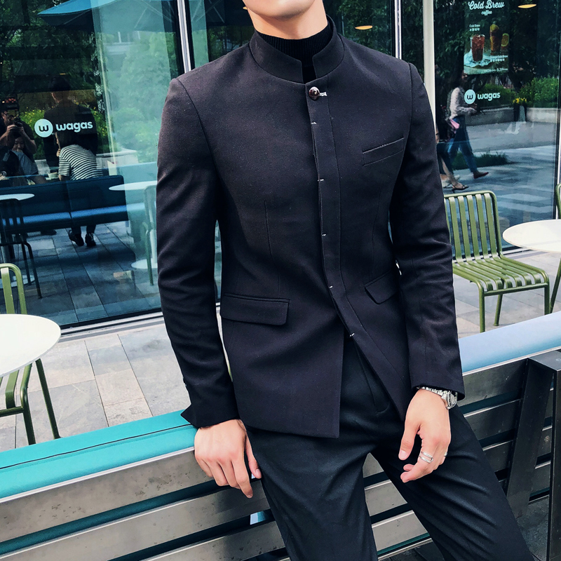 2018 new men's self cultivation business casual suit formalwear Chinese stand collar tunic male youth groom dress