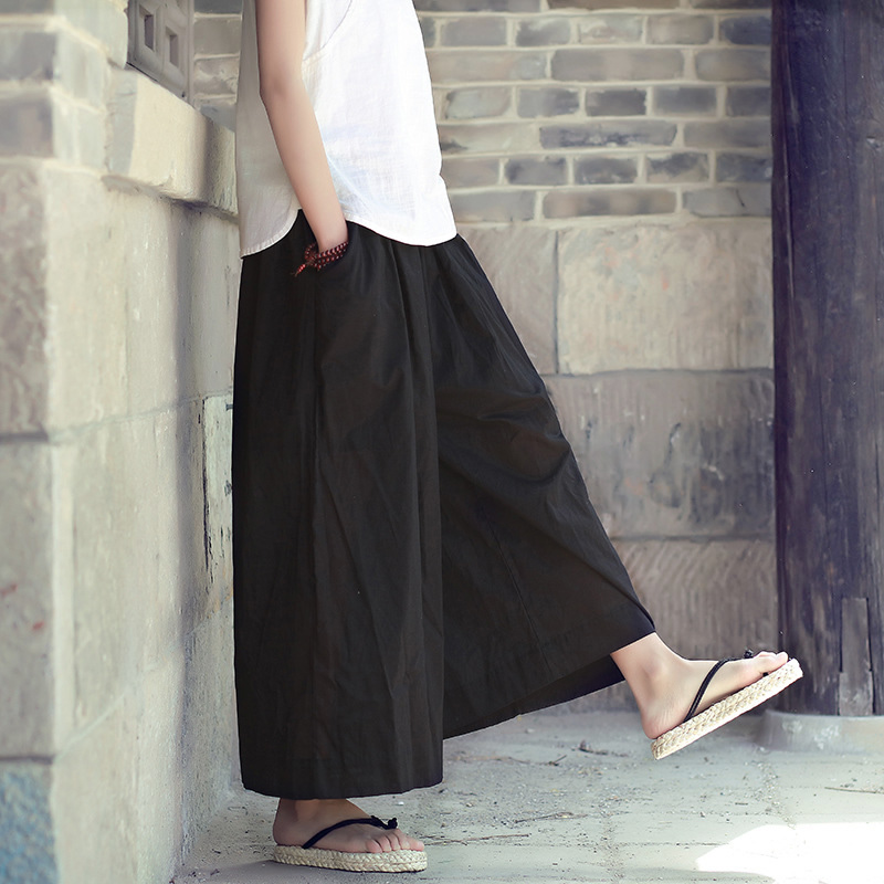 Elastic Waist Solid Cotton Women Wide leg Pants Skirt Black White Red Plus size Loose Casual Summer Pants Capris Trousers C120
