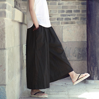Elastic Waist Solid Cotton Women Wide leg   Pants   Skirt Black White Red Plus size Loose Casual Summer   Pants     Capris   Trousers C120