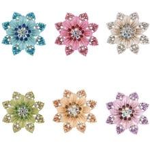 JINGLANG moda srebrne z kryształem górskim broszki Pins emalia wysokiej jakości kwiat broszki dla kobiet dekoracje ślubne biżuteria
