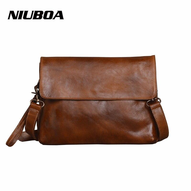 NIUBOA Women Vintage Cowhide Messenger Bag Luxury Retro 100 Genuine Leather Handbags Female Small Mini Shoulder