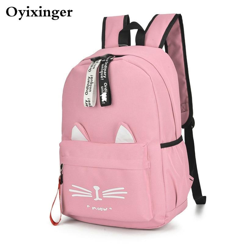 New Both Shoulders Girls Backpack Lovely Cat Ears Student Children School Bags For Boys Bag Kids Mochila Escolar Cartable Enfant