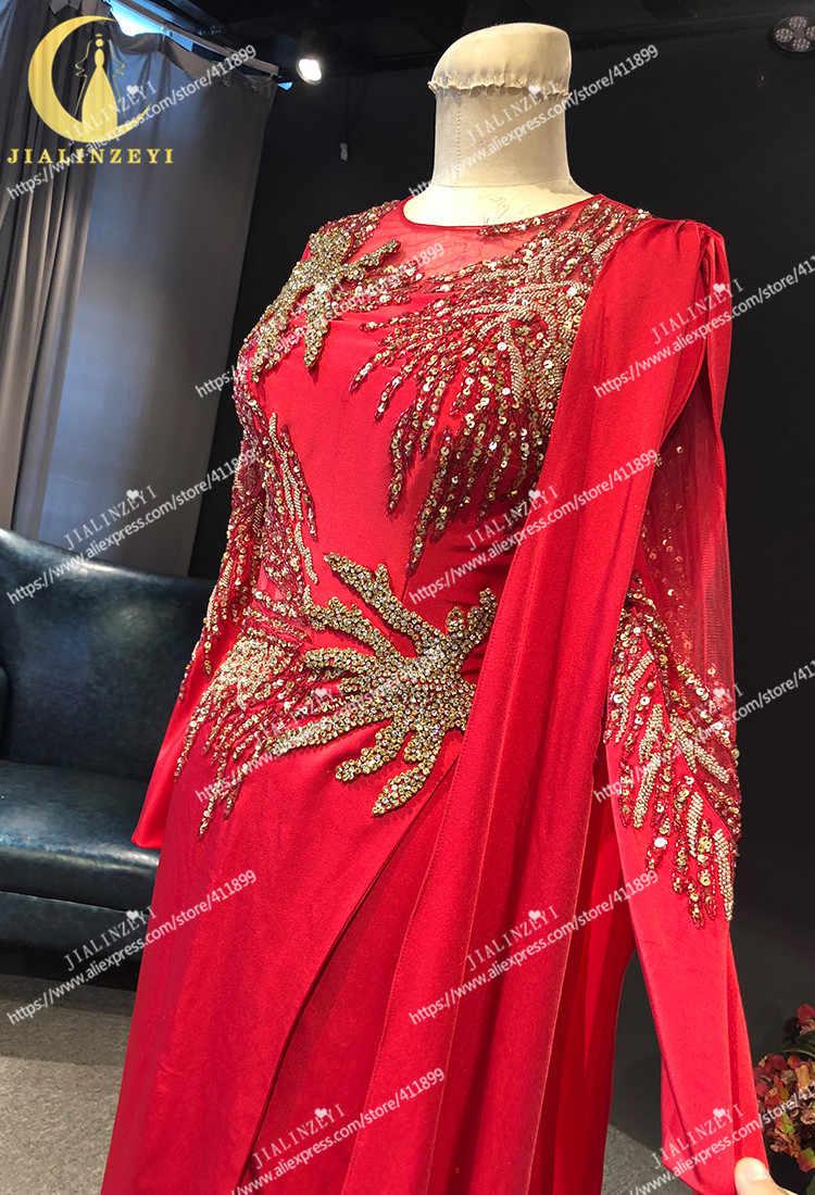 JIALINZEYI реальное изображение Длинные рукава красный атлас с золотыми бусинами вечерние платья