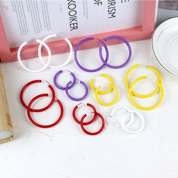 Fashion Summer Jewelry Small Big Circle Hoop Earrings For Women Yellow White Red Purple Steampunk Round.jpg 350x350 - Fashion Summer Jewelry Small Big Circle Hoop Earrings For Women Yellow White Red Purple Steampunk Round Earrings Party Gift
