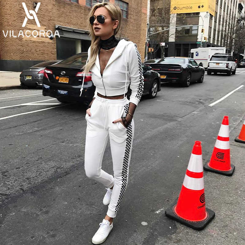 Black White Plaid Zipper Cardigan Women 2 Piece Set Long Sleeve White Crop Top + Elasticated Long Pant Women Set ensemble femme