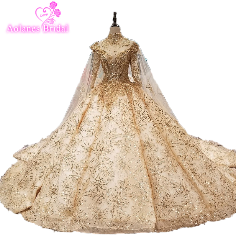 bc660cab3f0 Hot Sale High Neck Gold Lace Taless Cape Long Sleeve Wedding Dresses