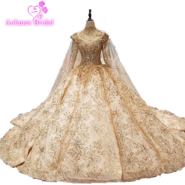 High Neck Gold Lace Taless Cape Long Sleeve Wedding Dresses 2019