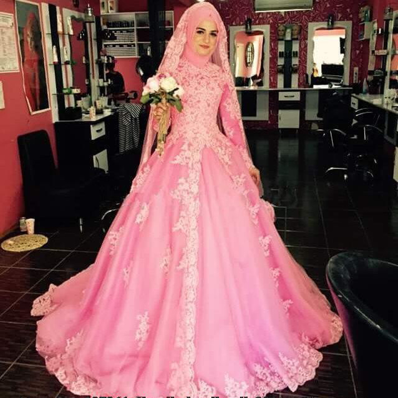 Middle East DuBai Pink Ball Gown Wedding Dresses Long Sleeve Bridal Dresses with font b Hijab